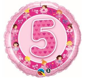 Balony foliowe z cyframi i liczbami - Balon foliowy na 5 urodziny / 26315
