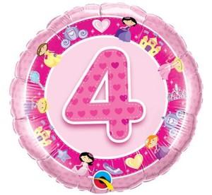 Balony foliowe z cyframi i liczbami - Balon foliowy na 4 urodziny / 26306