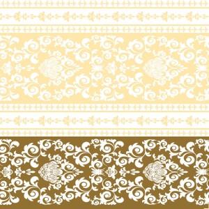 """Serwetki flizelinowe ze wzorem - Serwetki flizelinowe wzorzyste """"Pascal"""", kremowo-złote / 40x40"""