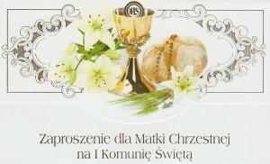 Zaproszenia komunijne gotowe - Zaproszenia Komunijne dla Matki Chrzestnej I Komunia Święta / ZS_KOM_26569
