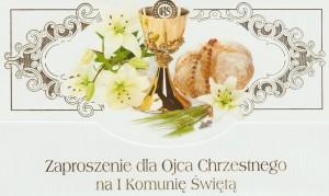 Zaproszenia komunijne gotowe - Zaproszenia Komunijne dla Ojca Chrzestnego I Komunia Święta / ZS_KOM_26566