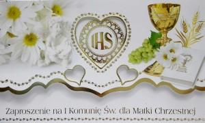 Zaproszenia komunijne gotowe - Zaproszenia Komunijne dla Matki Chrzestnej I Komunia Święta / ZS_KOM_26567