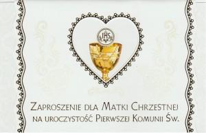 Zaproszenia komunijne gotowe - Zaproszenia komunijne dla Matki Chrzestnej I Komunia Święta / ZS_KOM_26568
