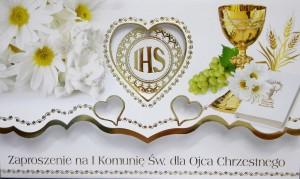 Zaproszenia komunijne gotowe - Zaproszenia Komunijne dla Ojca Chrzestnego I Komunia Święta / ZS_KOM_26564