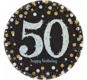 """Talerzyki cyfry i liczby - Talerzyki papierowe """"50 urodziny"""" Sparkling Celebration"""" / 23 cm"""