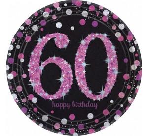 """Talerzyki cyfry i liczby - Talerzyki papierowe """"60 urodziny"""" Sparkling Celebration"""",różowe / 23 cm"""