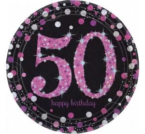 """Talerzyki cyfry i liczby - Talerzyki papierowe """"50 urodziny"""" Sparkling Celebration, różowe / 23 cm"""