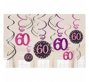 """Dekoracja wisząca """"60-Sparkling Celebration"""", różowa"""