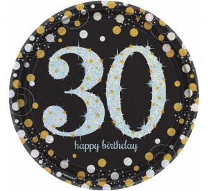"""Talerzyki cyfry i liczby - Talerzyki papierowe """"30 urodziny"""" Sparkling Celebration"""" / 23 cm"""