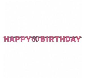 """Banner urodzinowy """"60-Sparkling Celebration"""", różowy"""