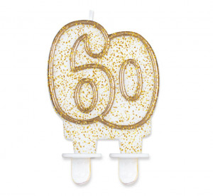"""Świeczka cyferka """"60"""", złoty kontur"""