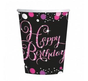 """Kubeczki z napisami papierowe - Kubeczki papierowe """"Happy Birthday -Sparkling Celebration"""", różowe"""
