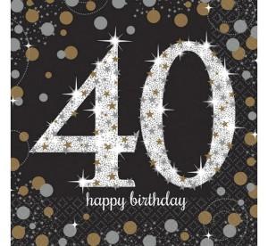 """Serwetki papierowe """"40-Sparkling Celebration"""", złoto-srebrne, rozm. 33 x 33 cm"""