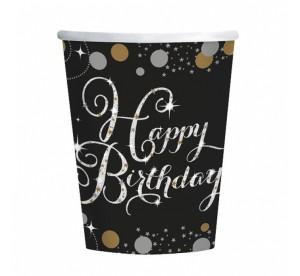 """Kubeczki z napisami papierowe - Kubeczki papierowe """"Happy Birthday -Sparkling Celebration"""""""