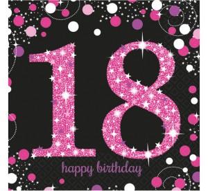 """Serwetki bibułowe cyfry i liczby - Serwetki papierowe """"18 urodziny"""" Sparkling Celebration, różowe / 33x33 cm"""