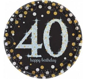 """Talerzyki cyfry i liczby - Talerzyki papierowe """"40 urodziny """" Sparkling Celebration / 23 cm"""