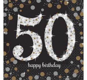 """Serwetki papierowe """"50-Sparkling Celebration"""", złoto-srebrne, rozm. 33 x 33 cm"""