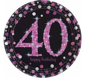"""Talerzyki papierowe """"40-Sparkling Celebration"""", różowe, rozm. 23 cm"""
