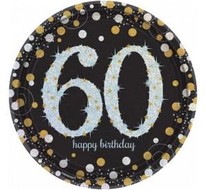 """Talerzyki cyfry i liczby - Talerzyki papierowe """"60 urodziny"""" Sparkling Celebration"""" / 23 cm"""