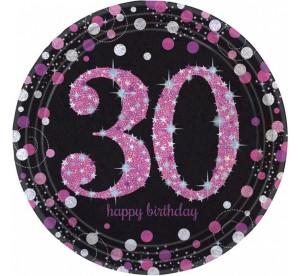 """Talerzyki papierowe """"30-Sparkling Celebratioin"""", różowe, rozm. 23 cm"""
