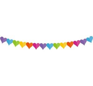 """Girlandy kształty - Girlanda papierowa """"Kolorowe serduszka"""" / 360x17.1x18 cm"""