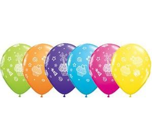"""Balony lateksowe z nadrukiem - Balon QL 11"""" z nadr. """"Ciasteczka i Prezenty"""", pastel mix tropikalny"""