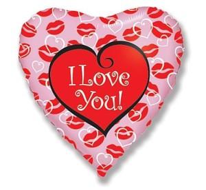 """Balony foliowe kształty i wzory - Balon foliowy 18"""" FX- """"I love you + całuski"""""""