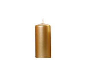 Świeczki walce - Złota świeca walec, metalizowana / 12x6 cm