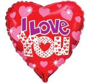"""Balony foliowe kształty z napisami - Balon foliowy 18"""" """"I Love You + serduszka"""" (niezapakowany)"""