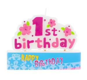"""Świeczka na pikerach """"1st Birthday"""",różowa"""