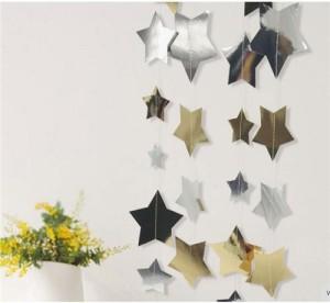 """Dekoracja wisząca """"Złote i Srebrne Gwiazdki"""", różne rozmiary gwiazdek, 10,5 cm, 7.5 cm, 5 cm, 4 cm, dł. dekoracji 4 m"""