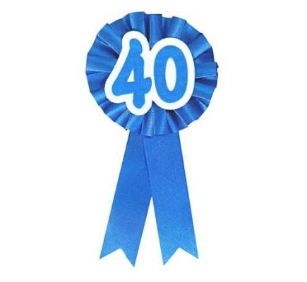 """Kotylion urodzinowy """"40"""", niebieski"""