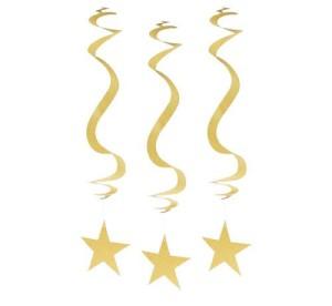 """Gwiazdy wiszące - Dekoracja wisząca """"Brokatowe Gwiazdy"""", złota"""