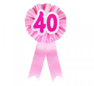 """Kotylion urodzinowy """"40"""", różowy"""