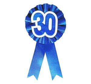 """Kotylion urodzinowy """"30"""", niebieski"""