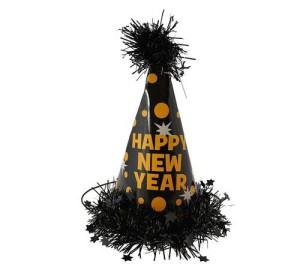 """Czapeczka """"Happy New Year"""", czarna"""