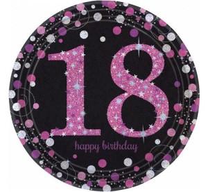 """Talerzyki cyfry i liczby - Talerzyki papierowe """"18 urodziny"""" Sparkling Celebration"""", różowe, / 23 cm"""