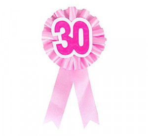 """Kotylion urodzinowy """"30"""", różowy"""
