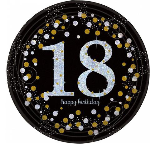 Akcesoria na 18 urodziny, talerzyki, kubki, słomki, konfetti