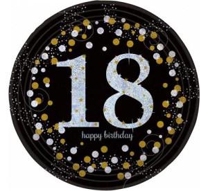 """Talerzyki cyfry i liczby - Talerzyki papierowe """"18 urodziny """" Sparkling Celebration / 23 cm"""
