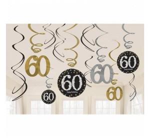"""Girlandy cyfry i liczby - Dekoracja wisząca """"60"""" Sparkling Celebration, mix"""