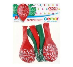 """Balony lateksowe z napisami - Balony Premium """"Wesołych Świąt"""", czerwone i zielone"""
