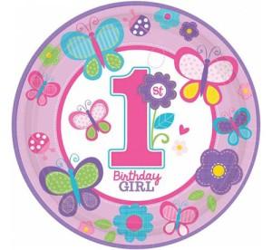 """Talerzyki papierowe """"Sweet Birthday Girl"""", 23 cm, 8 szt."""