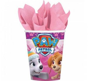"""Kubeczki z bohaterami bajek papierowe - Kubeczki papierowe """"Różowy Psi Patrol"""" 8 szt."""