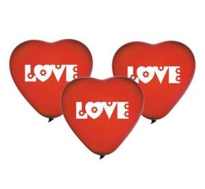 """Balony lateksowe z napisami - Balony lateksowe 12"""" Premium """"Serca z napisem Love"""", czerwone"""