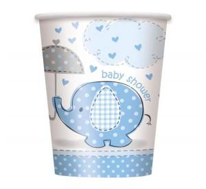 """Kubeczki papierowe """"Baby Shower - Slonik"""", niebieski, 8 szt."""