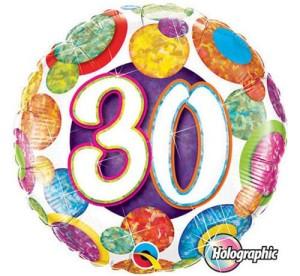 """Balony foliowe na okrągłe urodziny - Balon foliowy """"30"""",  46 cm / 37896"""