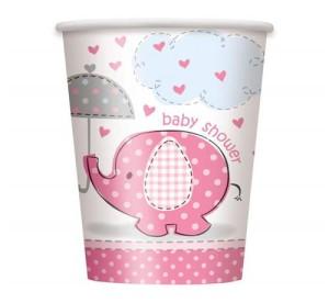 """Kubeczki papierowe """"Baby Shower - Słonik"""", różowe, 8 szt."""