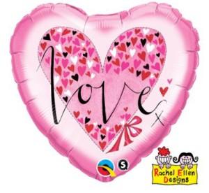 """Balon foliowy 18"""" QL HRT """" Love (z serduszkami)"""""""