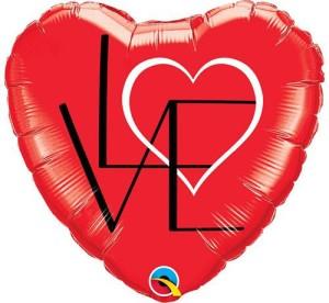 "Balon foliowy 18"" QL HRT ""LOVE"""